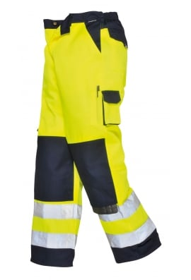 Portwest TX51YN Lyon Hivis Trousers (Small To 2XL) Yellow/Navy