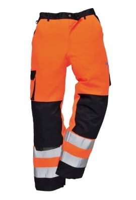 Portwest TX51O/N Lyon Hivis Trousers (Small To 2XL) Orange/Navy
