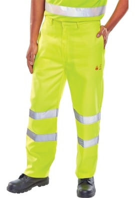 Be Seen Flame Retardant Anti Static Hi Vis Trousers Yellow (28 To 48)