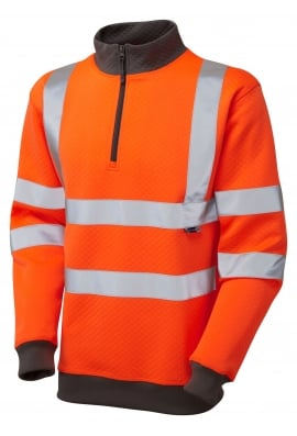 Leo Workwear SS01-O Class 3 Brynsworthy 1/4 Zip Sweatshirt (Small To 6XL)