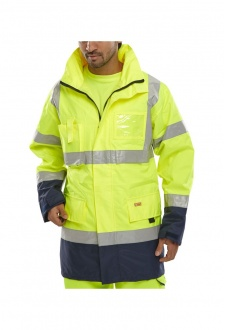 BD109 Hi Visibility  Weather Proof Two Tone Breathable Traffic Jacket (Small To 6XL)