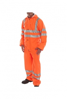 PUC Click Hi Visibility Super B-Dri  Breathable  PU Coated Coverall (Rail Spec In Orange) (Small To 4XL)