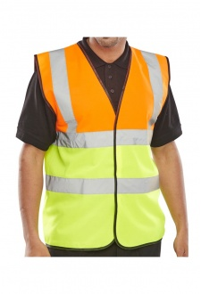 EN471 Class 2 Two Tone Vests Orange/Yellow (3XL)