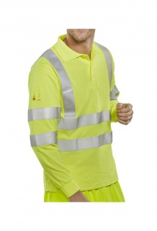 CFRHVPSLSAS Flame Retardent Hi-Visibility Polo Shirt Long Sleeves Anti-Static (Small To 6XL)