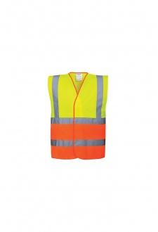 C481 Two Tone Hi Vis Vests Yellow Orange (Small To 3XL)
