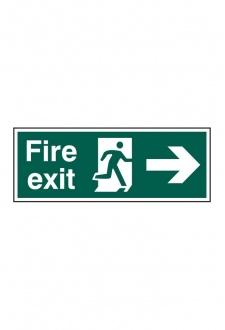 BSS12001 Fire Exit Man Arrow Right Sign PVC Version