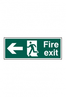 BSS12093 Fire Exit Man Arrow Left Sign PVC Version