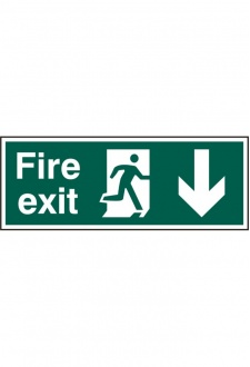 BSS12097 Fire Exit Man Arrow Down Sign PVC Version