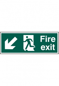 BSS12109 Fire Exit Man Arrow Down Left Sign PVC Version