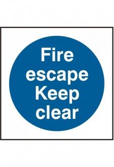 BSS11348 Fire Escape Keep Clear Sign Viyl Version