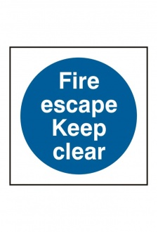 BSS11350 Fire Escape Keep Clear Sign Vinyl Version
