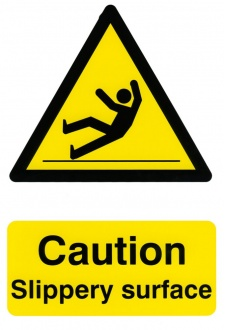BSS1108 Caution Slippery Surface Sign PVC Version