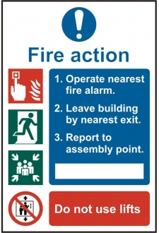 BSS13843 Fire Action Sign PVC Version