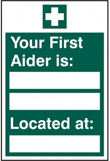 BSS12045 First Aider Located Sign PVC Version