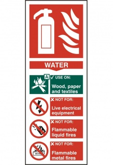 BSS12308 Fire Extinguisher Guide Sign Water Sign Vinyl Version
