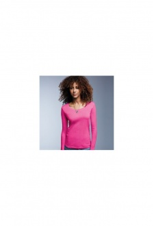 AV122 Womens Long Sleeved Sheer Scoop T-Shirt (Small To 2XL)