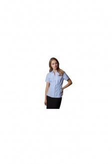 KK713 Womens Pinstripe Short Sleeved Shirt (Size 8 To Size 22)