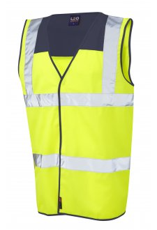 W09-NV/Y Bradworthy Navy Yoke Hi Vis Vests (Small To 4XL)
