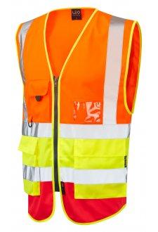 W11-O/Y/R Lynton Orange Yellow Red Hi Vis Vests (Small To 6XL)
