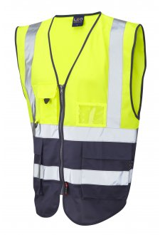 W11-Y/NV Lynton Yellow Navy Two Tone Hi Vis Vests (Small To 6XL)