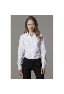 KK790 Womens Contrast Premium Oxford Shirt Long Sleeved  (Size 8 To 18)
