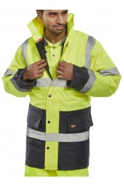 TJSTTENG Click Padded Waterproof  Two Tone Traffic Jacket (Small To 5XL)