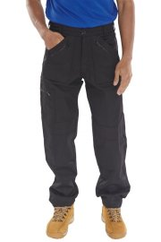 AWTBL Click Black Action Work Trousers Zipped Pockets
