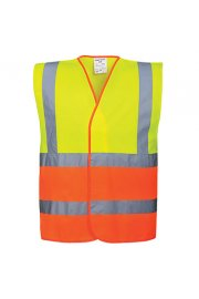 C481 Two Tone Hi Vis Vests Yellow Orange (Small To 3XL)