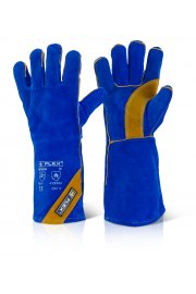 EN388 3233 Cat 2 Blue Gold Welders Gauntlets (Pack Size 10)