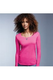 AV122 Womens Long Sleeved Sheer Scoop T-Shirt (Small To 2XL)