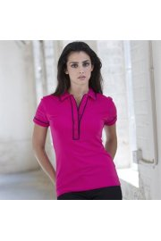 SK048 Womens Contrast Piped Polo Shirt