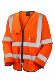 S12-O Wrafton orange Executive Hi Vis Long Sleeved Vests (Small To 6XL)