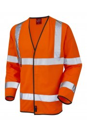 S07-O Mullacott Flame Retardent Orange Hi Vis Long Sleeved Vests (Small To 4XL)