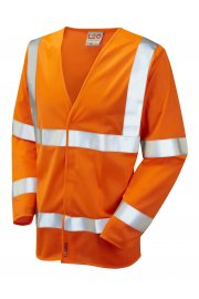 S11-O Parkham Flame Retardent Orange Hi Vis Long Sleeved Vests (Small To 6XL)