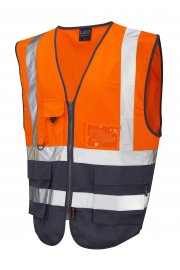W11-O/NV Lynton Orange Navy Two Tone Hi Vis Vests (Small To 6XL)