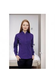 KK261 Womens Mandarin Collar Fitted Shirt Long Sleeved  (Size 8 To 18)