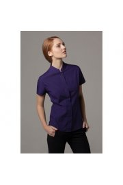 KK260 Womens Mandarin Collar Fitted Shirt Short Sleeved (Size 8 To Size 18)