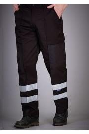 YK074BL Reflective Polycotton Ballistic Trousers Black