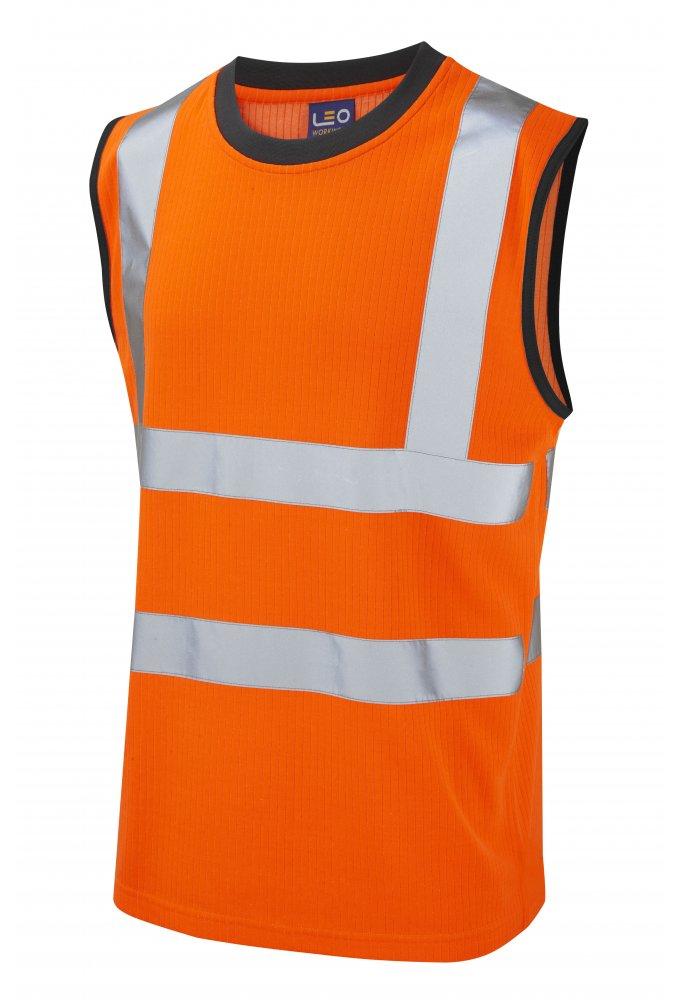 V01 o leoworkwear class 2 ashford poly cotton vest for Hi vis t shirts cotton