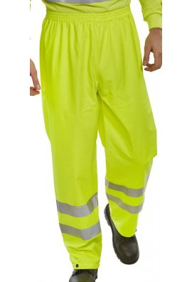 Beeswift PUT471 Hi Visibility B-Dry Breathable PU Coated Overtrousers (Small To 4XL)