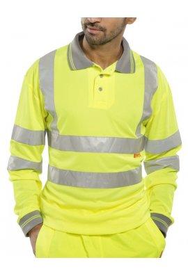 Beeswift BPKSLSEN Hi Visibility B Seen Long Sleeved Polo Shirt (Medium To 6XL)