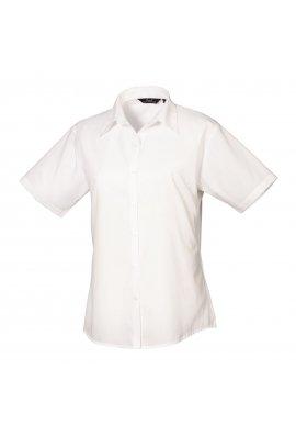 Premier PR302 Ladies Fit  Short Sleeve Poplin Blouse (Size 8 To Size 24) 16 Colours