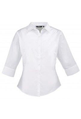 Premier PR305 Ladies Fit 3/4 Sleeve Poplin Blouse  (Size 8 To Size 24)  6 COLOURS