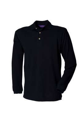 Henbury HB105 Long Sleeved Cotton Polo(Small to 2XLarge) 2 COLOURS
