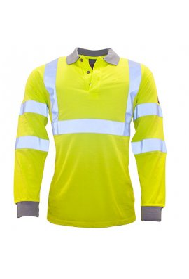 Portwest FR77 Flame-Resistant Anti-Static Hi-Vis Long Sleeved Polo Shirt (Small to 3XLarge)