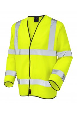 Leo Workwear S01-Y Shirwell Yellow Hi Vis Long Sleeved Vests (Small To 6XL)