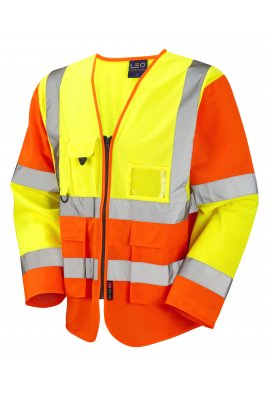 Leo Workwear S12-Y/O Wrafton Two Tone Hi Vis Long Sleeved Vests (Small To 6XL)