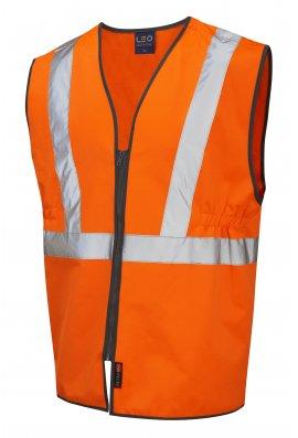 Leo Workwear W16-O Copplestone Railway Hi Vis Vests GO/RT (Small To 3XL)