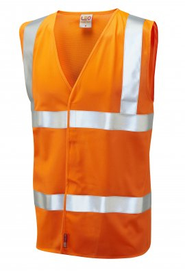 Leo Workwear W08-O Milford Orange Flame Retardent Hi Vis Vests (Small To 6XL)