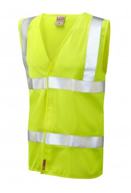 Leo Workwear W08-Y Milford Yellow Flame Retardent Hi Vis Vests (Small To 6XL)